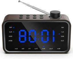 RockSeed Digital Alarm Clock Radio, FM Radio Blue LED Displa