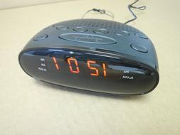 LED Digital Alarm Clock Radio AM FM Black Housing AC Power B