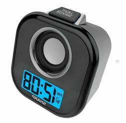 Sharp Digital Alarm Clock with Aux Cord & Speaker in Black