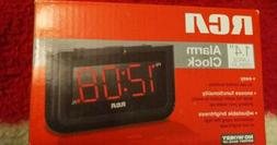 "RCA Digital Alarm Clock with Large 1.4"" Display, Black w/Red"