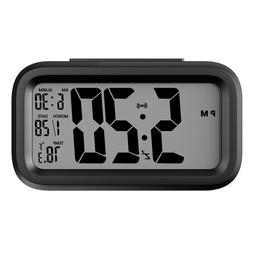 Helect Digital Alarm Clock with LCD Backlight Calendar and T