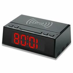 Digital Alarm Clock with Wireless Charging and USB Port, Lar