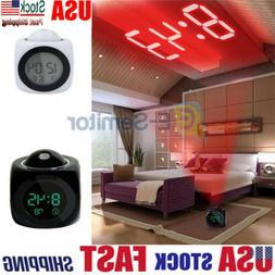 Digital Alarm LED Clock Voice Talking LCD Projection Wall Ce