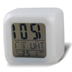 Digital Alarm Thermometer Night Glowing Cube 7 Colors Clock
