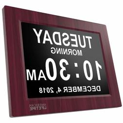 "Digital Clock 8"" Large Display Easy Read Vision Day Date Tim"