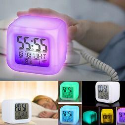 Digital Glowing LED Alarm Clock Backlight Time Calendar Ther