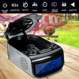 Digital LCD Alarm Clock Dual Speaker Tuning Am/Fm Radio CD M