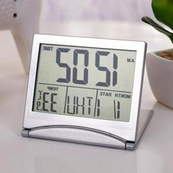Digital LCD Travel Folding Desk Alarm Clock Timer w/ Snooze