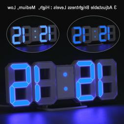 Digital LED 3D Numbers Wall Clock Alarm Snooze Dimmable 12/2