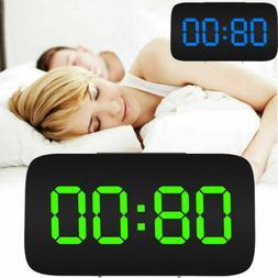Digital LED Alarm Clock Large Screen Snooze Voice Control Cl