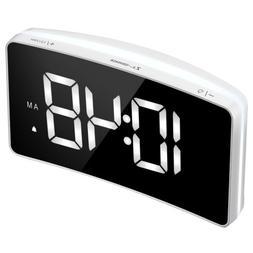 Digital LED Desk Alarm Clock Large Mirror Display USB Snooze