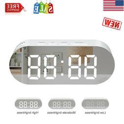 Digital LED Desk Alarm Clock Mirror Lamp Screen USB Battery