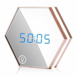 Digital LED Night Light Mirror Alarm Clock Rechargeable w/ T