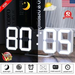 Digital LED Number Wall Clock Alarm Watch 24/12 Hour Display