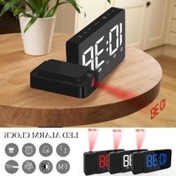 LED Radio Projection Clock FM Radio Creative Fashion Alarm C