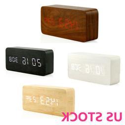 Digital LED  Wooden Modern Wood USB/AAA Alarm Clock Calendar