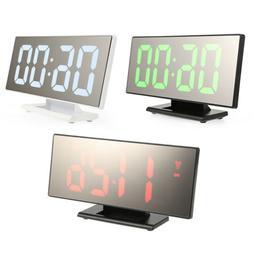 12h/24h LED Display Digital Mirror Surface Alarm Clocks USB