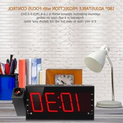 Digital Projection Alarm Clock AM FM Radio Clock with USB Ch