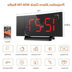Digital Projection FM Radio Alarm Clock Dual Alarm with USB