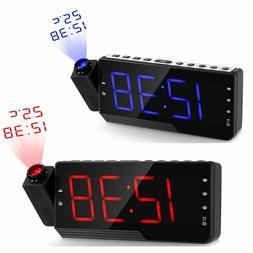 Digital Radio Alarm Clock USB Charge Cable Projection Snooze