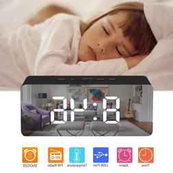 Digital Snooze LED Alarm Clock FM Radio Temperature Night Li