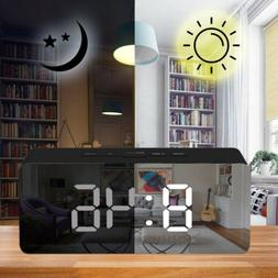 Digital Snooze LED Alarm Clock Temperature Night Light Mirro