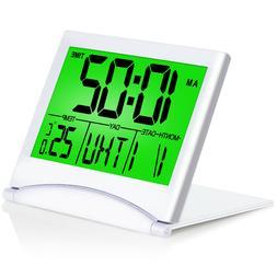 Betus Digital Travel Alarm Clock - Foldable Calendar Battery