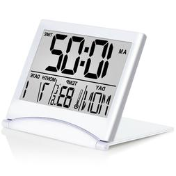 Betus Digital Travel Alarm Clock - Foldable Calendar Tempera