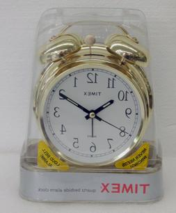 DOUBLE BELL ALARM CLOCK- TIMEX - GOLD TONE  FINISH   BATTERY