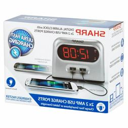 Sharp Double USB Charger Alarm Clock Battery Backup Snooze i