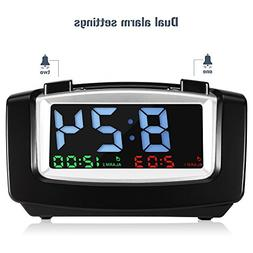INLIFE Digital Dual Alarm Clock with USB Charging for Smartp