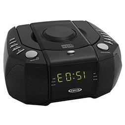 Jensen Dual Alarm Clock Radio with Top-Loading CD Player & L