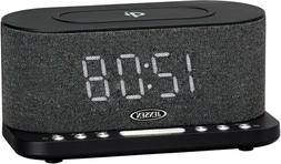 Jensen Dual Alarm Clock Radio with Wireless Charging