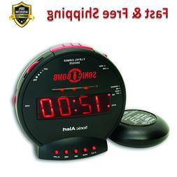 Dual Alarm Clock Red Flashing Alert Lights Powerful Bed Shak
