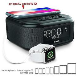 iHome Dual Alarm Clock with Qi Wireless Charging and USB Cha