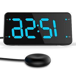 Dual Alarm Digital Clock with Pillow Bed Shaker Loud USB Cha
