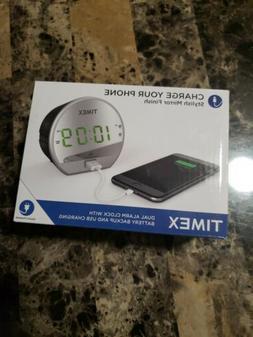 Timex Dual Digital Alarm Clock, USB Charger, Mirror Finish G