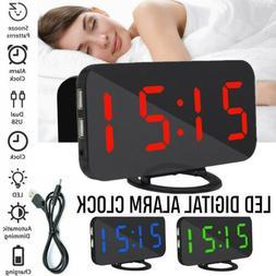 Dual USB Digital LED Clock Snooze Mirror Alarm Clock Time Ni