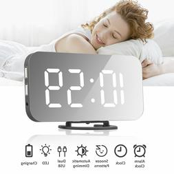 Dual USB Digital LED Clock Snooze Mirror Electronic Alarm Cl