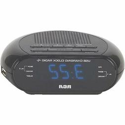 Dual Wake Alarm Clock Radio with USB Port