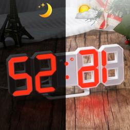 Large Digital LED 3D Table Wall Clock Alarm Snooze Dimmer US