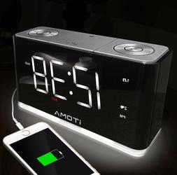 iTOMA Electric Digital Alarm Clock Led FM Radio Player Big D