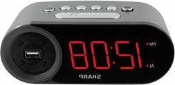 Sharp Electric Digital Alarm Clock w/ 2 AMP High-Speed USB C