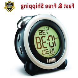 Electronic Twin Bell Snooze Portable LCD Clock Digital Batte