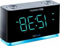 Emerson ER100301 SmartSet Alarm Clock Radio with Bluetooth S