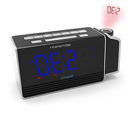 Emerson SmartSet Projection Alarm Clock Radio with USB Charg