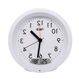 FanJu FJ5132 Round Silent Small Analog Travel Alarm Clock No