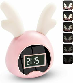 FilmHoo Kids Alarm Clock, Cute Lighted Antlers Wake Up Digit