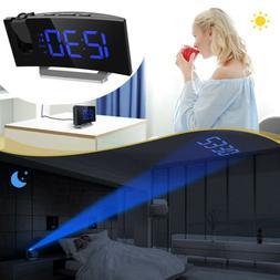 FM Radio Digital Projection Ceiling Alarm Clock LED Dual Ala