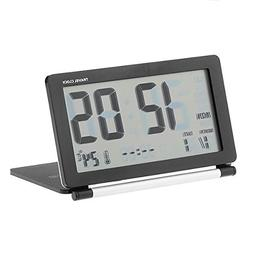 FunnyToday365 Folding Travel Alarm Clock Desktop Led Digital